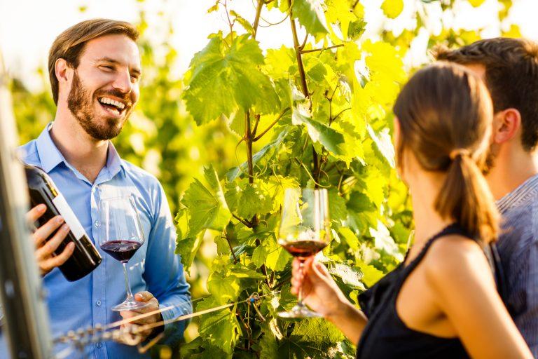 Sommelier presenting wine to heterosexual couple in the vineyard during their luxury travel.